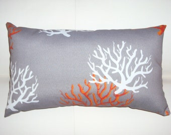 FREE SHIPPING 15x8 Indoor Outdoor Gray Orange and White Coral Print Lumbar Pillow