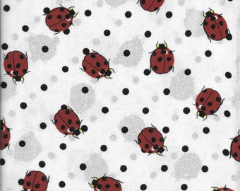 "Two 1 Yard Pieces Lightweight White Crepe with Red Lady Bugs and Black Dots 60"" wide"