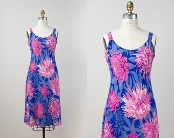 90s Slip Dress - Pink Chrysanthemum Hand Silkscreened Bias Cut Dress - Vintage 1990s Rayon Dress - Hawaiian Floral Summer Dress - S / M