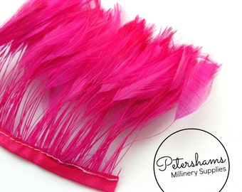 Stripped Hackle Feather Fringe for Millinery, Hat Making 10cm Strip - Pink