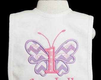 Butterfly Birthday Bib, Butterfly 1st Birthday Bib, Personalized First Butterfly Birthday Bib, Custom, Any Colors