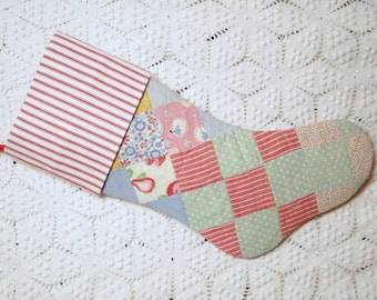 Vintage Quilt Stocking | Old Fashioned Christmas | Patchwork Christmas Stocking with Ticking Cuff