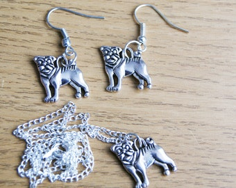 Silver Plated Pug Dog Jewellery Set, Drop Dangle Charm Earrings, Pierced Ears, Pendant Necklace, Ladies Gift, Cute Pet, Dog Lover, Dog Walk