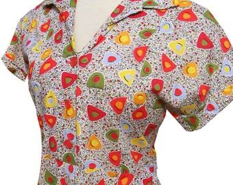 Vintage 50s Novelty Print Cotton Day Dress Atomic Amoeba Large Plus Size 38 - 40 bust  34 waist 1950s VLV Rockabilly Lucy
