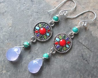 Turquoise & Crystal Boho Earrings - Genuine Turquoise - Mandala/Colorful Earrings