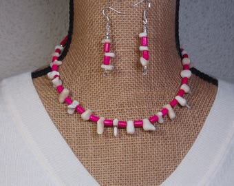 Natural Genuine White Ocean Coral with Hot Pink Spacers, 925 Silver Necklace and Earrings
