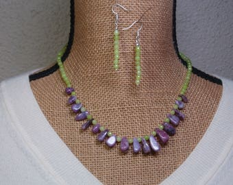 Natural Purple Coral Fossil, Peridot Gemstones, 925 Necklace and Earrings