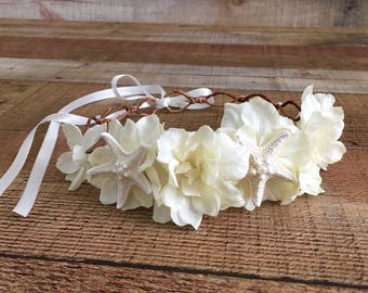Beach Bridal Crown,Starfish Head Wreath,Nautical Bride,Beach Bride,Mermaid Crown,Destination Wedding,Starfish Hair Accessory,Music Festivals