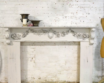 Painted Cottage Chic Shabby Oyster Fireplace Mantle