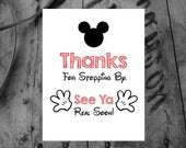 Mickey Mouse Party Art / INSTANT DOWNLOAD / Thanks for Stopping By / Mickey Mouse Sign / Home Decor / Art