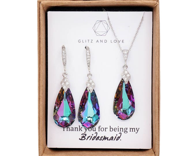 Swarovski Vitrail Light Faceted Teardrop Crystal Earrings, Purple Wedding, Bridal Earrings, Bridesmaid Jewelry, Silver Weddings, Eathelyn