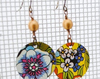 Vintage Tea Tin Earrings - 70's Flower Mix - Upcycled Jewelry, Repurposed Jewelry
