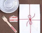 Mini Pie Box Kit: Bakery Boxes, Mini Pie Pans, Wooden Pie Forks & Gift Tags, Mini Pie Packaging Kit, Christmas Pie Kit, Mini Pie Boxes (6)