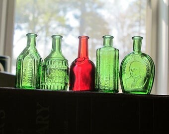 5 Miniature Medicine Bottles Wheaton NJ / Vintage Mini Cork Top Flask Apothecary Tiny Bitters Shades of Green & Ruby Red Glass Goth Burgundy
