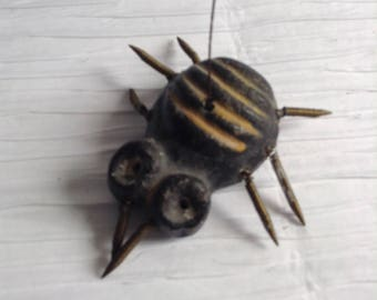 Vintage Papier Paper Mache Scary BUG.  Wiggly spring legs.  Made in Occupied Japan.