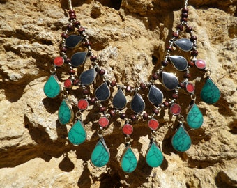 Striking Handmade Afghan Tribal Necklace. Grey, red, green/blue. 3 layers