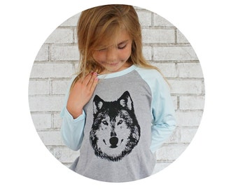 Wolf Shirt For Children, Kids Clothing, Baseball Tee, Blue and Grey Woodland Animal Graphic Tee Shirt, Hand Printed Tshirt, Gift For Toddler