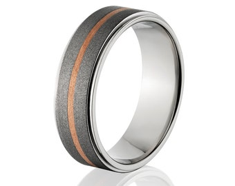 Copper Ring Titanium Wedding Ring Copper Inlay Ring Titanium Wedding Band Titanium Wedding Ring Copper Jewelry Wedding Ring: 7RC11G-SND