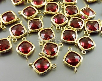 2 Small faceted diamond ruby pink red glass connectors, ruby glass stone charm connector 5063G-RU