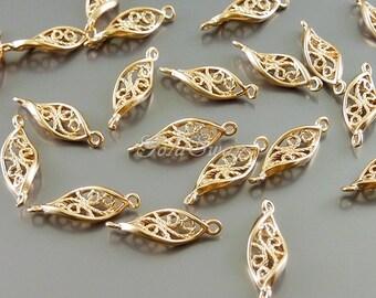 4 small twisted 12mm leaf connectors, leaf charms, rose gold twisted leaf filigree pendants 1757-MRG-12