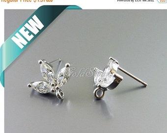 15% SALE 1 pair / 2 pcs rhodium silver CZ sprout earrings, cubic zirconia leaf earrings, cz jewelry earrings E1760-Br earrings
