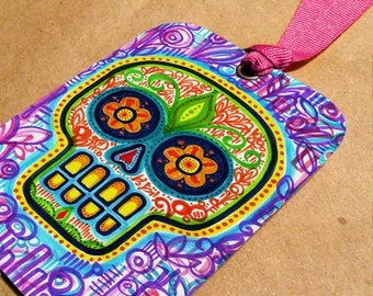 Sugar Skull Bookmark with Rose Ribbon