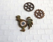 Steampunk barometer on rooster shaped base in 1:12 scale