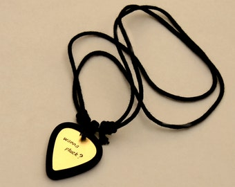 Guitar Pick Necklace Set, Guitar Pick Holder Necklace with Custom Brass Guitar Pick Rocking Out Wanna Pluck – Black - PB008