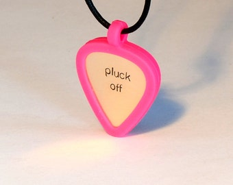 Pink Guitar Pick Holder Necklace with Custom Bronze Guitar Pick Handstamped with Pluck Off – Pink - PB102