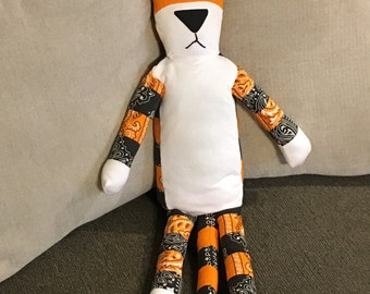 Calvin and Hobbes stuffed Tiger, handmade from recycled materials