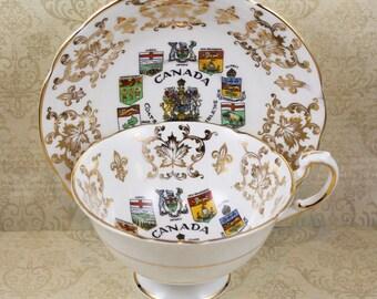 Vintage Paragon Canada Coats of Arms English Bone China Tea Cup and Saucer