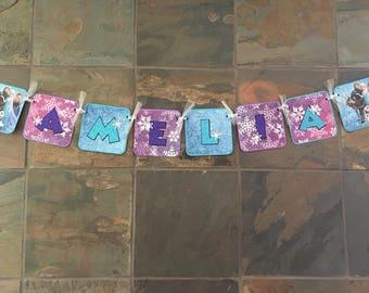 Frozen Banner Frozen Name Birthday Girl Boy Amelia Name Sign Frozen Glitter Garland Sign Frozen Snowflake Anna Elsa Olaf Winter Wonderland P