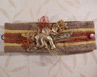 Gold Elephant Fabric Cuff Bracelet