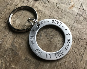 Personalized Steel Keychain Solid Stainless Steel Mens Keyfob Custom Message Keychain