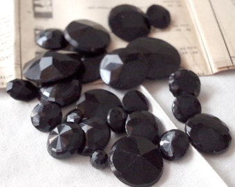 Vintage Black Glass Molded BUTTON Lot of 20- Metal Shank Black Glass Buttons Large to Small