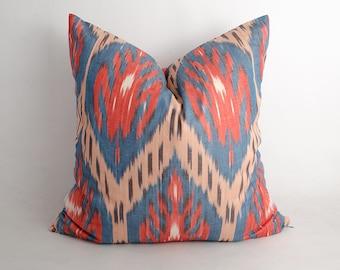 20x20 ikat cushion cover. ikat pillow cover, red, blue, decorative pillow, sofa pillow, throw pillow, ikat design