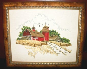 Vintage Framed Crewel Stitched Picture Farm Scene Red Barn