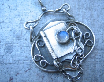 Rose Cut Blue Flash Moonstone Hand Fabricated Sterling Silver Locket, One Of A Kind, Hinged, Filligree, Art Nouveau