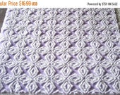 """ON SALE Vintage Chenille Bedspread Fabric Purple / Lavender and White Gothic Cross 25"""" x21"""""""