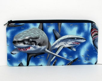 Shark Jaws, Zippered Pencil Pouch, Alexander Henry, Great White Sharks