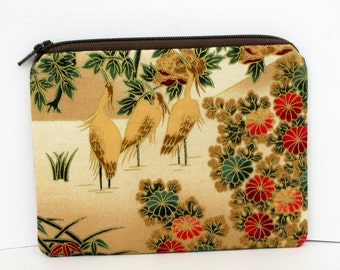 Golden Garden Birds, Small Zipper Pouch, Asian Crane Coin Purse
