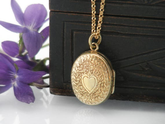 Antique Locket | Victorian Locket, 9ct Gold Front & Back Small Oval Locket Necklace | Love Token Wedding Locket, Bridal Gift - 20 Inch Chain