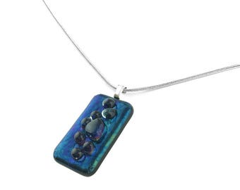 Pendant Necklace, Royal Blue Iridescent Glass Jewelry