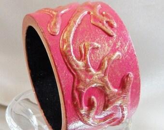 CHRISTMAS SALE Vintage Pink Gold Bracelet. Painted Carved Wood. Gilt Gold Accents. Wide Bangle.
