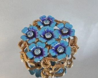 ON SALE Vintage Flower Brooch. Pendant. Blue and Purple Avon Floral. Rhinestones.