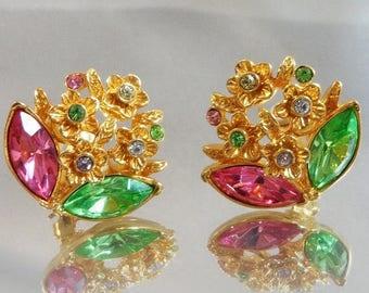 ON SALE Vintage Rhinestone Spring Earrings. Spring Flowers Earrings. Pink Green Rhinestones Easter Earrings.