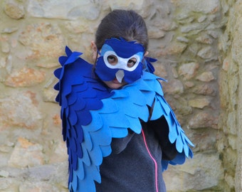 Children Bird Costume, Blue Macaw Arara Parrot Wings and Mask Kid Dress up Toy, Rio,  Girls and Boys, Toddlers