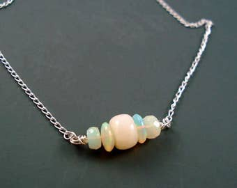 Opal Necklace with Ethiopian Opal Focals and Sterling Silver ON SALE was 79.00