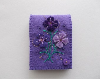 Needle Book Purple Felt Cover with Hand Embroidered Felt Flowers Swirls and Heart Button Handsewn