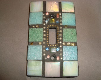 MOSAIC Light Switch Plate -  Single Switch, Blue, Wall Art, Wall Plate, Aqua, Pastel, Multicolored